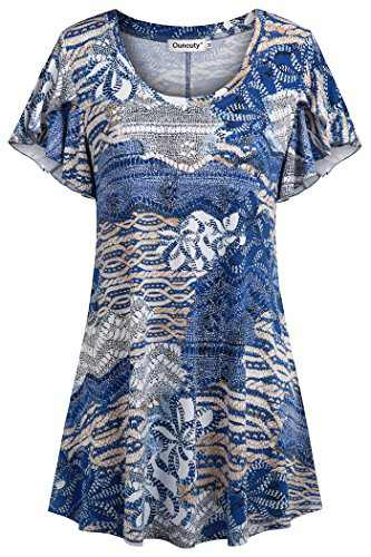 Ouncuty Summer Casual Shirts for Women, Floral Blouses Basic T-Shirt Comfy Plus Size Short Sleeve Tunic Tops for Leggings Ladies Tie Dye Western Shirts Blue 2XL