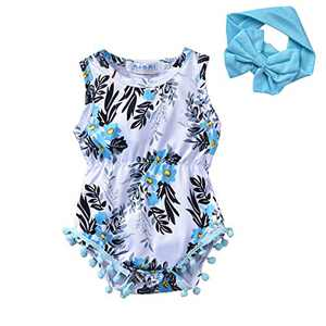 Newborn Infant Baby Girl Summer Romper One Piece Floral Print Bodysuit Headband Outfits Sets (Floral, 0-6M)