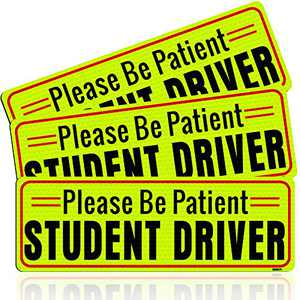 BOKA Student Driver Magnet for Car, Enhanced Magnetic New Driver Safety Signs, Reflective Rookie Novice Vehicle Bumper Sticker, Warning Please Be Patient Teen Driver, Removable, 10×3.5in, 3 Pcs Gifts