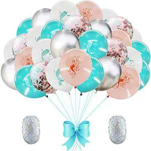 AMAWILL 37pcs Mermaid Latex Confetti Balloons Metal Balloon for Wedding Birthday Party Decorations Baby Shower Supplies