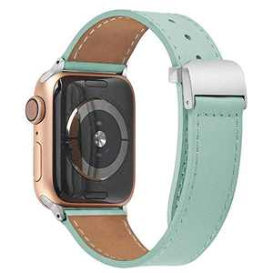 hooroor Leather Bands Compatible Apple Watch Band 38mm 40mm 42mm 44mm Replacement Strap for iWatch Series 6, SE, Series 5, Series 4,Series 3,Series 2,Series 1,Sport, Edition Womens Mens(Teal,42/44mm)