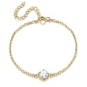 Sllaiss 925 Sterling Silver CZ Bracelet Solitaire Zirconia Love Bracelet for Women Girls Adjustable Chain