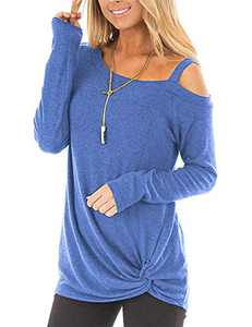 Women's Loose Casual Knot Twisted Tops Tunic Blouse Solid Color Short/Long Sleeve T Shirts (B02-Blue-Long Sleeve, XX-Large)