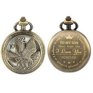 SIBOSUN Personalized Pocket Watch Engraved Back Case Birthday Men to My Son Quartz
