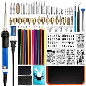 Wood Burning Kit 80Pcs, Wood Burning Tool with Soldering Iron Tips, Wood Burner Temperature Adjustable with On-Off Switch, Pyrography Pen with Wood Burning Stencils for Embossing Carving