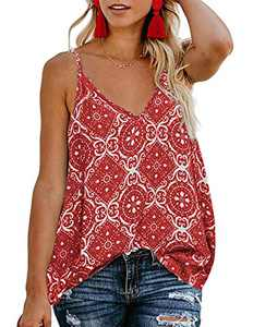 TECREW Women's Boho Floral V Neck Spaghetti Straps Tank Top Summer Sleeveless Shirts Blouse Red