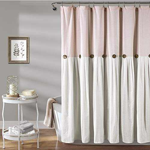 "Lush Decor, Blush & White Linen Button Shower Curtain, 72"" x 72"""