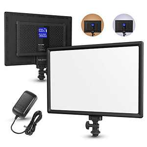 RALENO LED Video Soft Light Panel, for Studio Photography/Recording/Conference/YouTube on Camera Light, Built-in Dual Rechargeable Battery Brightness Dimmable 3200K-5600K LCD Display, CRI95+