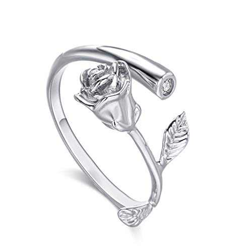 Lateefah Rose Flower Women Girls Rings Gold Plated with Cubic Zirconia Ajustable Rose Flower Open Ring for Female, Best Gift for Valentine Mother's Day Birthday