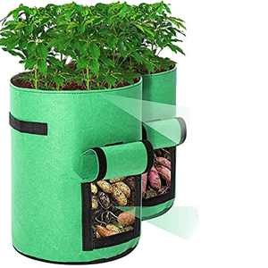 Potato Grow Bags, Tvird 2 Pack 10 Gallon Potato Growing Bags Potato Planting Bag with Flap and Handles for Potato, Tomato, Carrot (Green)