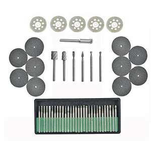 Diamond 52 Pcs Engraving accessories Set Diamond Bit/Routing Bit/Saw Blade for Dremel Attachment (Medium)