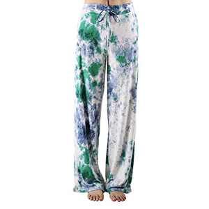 ZOOSIXX Women's Buttery Soft Pajama Pants | Floral Print Drawstring Casual Palazzo Lounge Pants Wide Leg | For All Seasons (B-sky Blue 2, XX-Large)