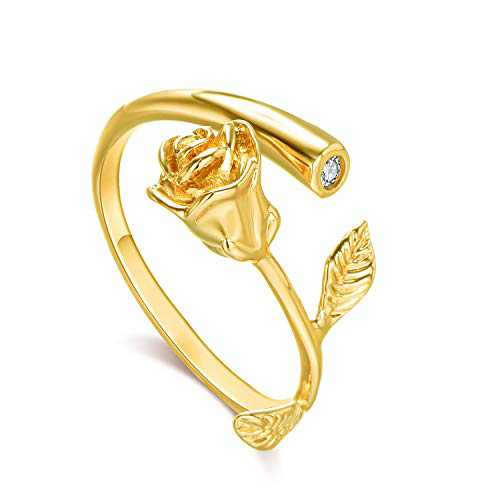 Lateefah Rose Women Girls Open Ring Jewelry Gold Plated with Cubic Zirconia Ajustable Rose Flower Ring For Female Best Gift For Valentine Mother's Day Birthday (3 colors)