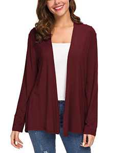Women's Long Sleeve Solid Color Open Front Cardigan (S, Wine Red)