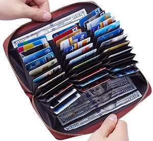 Travelambo Large Capacity Credit Card Wallet Leather RFID Wallet for Women (Access Red Deep)