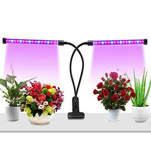 LED Grow Light for Indoor Plant, Upgraded Full Spectrum Plant Light with Replaceable Bulb,Dual Head Plant Grow Lamp with Flexible Gooseneck (20W Red Blue Full Spectrum)