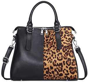 IBFUN Handbags for Women PU Leather Satchel Purse Ladies Shoulder Bags Top Handle Tote Leopard Black