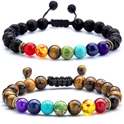Hamoery Men Women 8mm Lava Rock Chakra Beads Bracelet Set Friend Gifts Braided Rope Natural Stone Yoga Bracelet Bangle (Lava & Tiger)