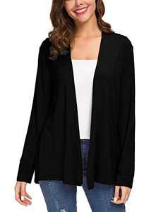Women's Long Sleeve Solid Color Open Front Cardigan (L, Black)