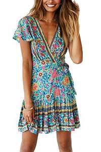 Minipeach Women's Summer Self Tie Bohemian Floral Pattern Ruffle A Line Beach Mini Maxi Dresses Green