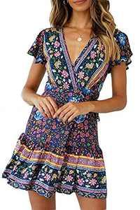 Minipeach Women's Summer Self Tie Bohemian Floral Pattern Ruffle A Line Beach Mini Maxi Dresses Navy