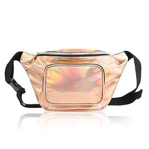 Fashion Holographic Fanny Pack for Women,Waterproof Cute Waist Bag for Teen Girls,80s Neon Fanny Pack with Adjustable Strap for Travel,Cycling,Festival,Running,Hiking,Festival Party,Rave (Rose Gold)