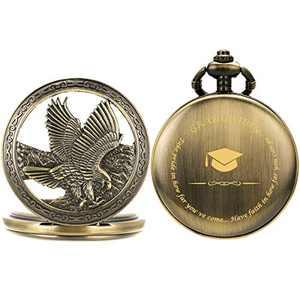 SIBOSUN Graduation for Him - Pocket Watch - Engraved 'Graduation' – Perfect College/High School Graduation or Present for Son | Him | for Classmates