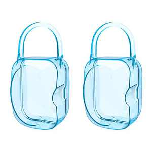 LANEYLI Pacifier Case Pacifier Holder Binky Holder Case Pacifier Box for Diaper Bag Home Travel Outdoor Activities 2 Pack Blue