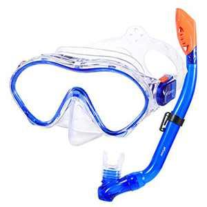 KUYOU Snorkel Set for Kids,Dry Top Snorkel Mask - Anti-Fog and Anti-Leak Easy Adjustable Snorkeling Gear for Children, Boys & Girls,Juniors Freediving Gear Set Age 5. (Blue)