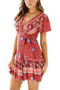 Minipeach Women's Summer Self Tie Bohemian Floral Pattern Ruffle A Line Beach Mini Maxi Dresses