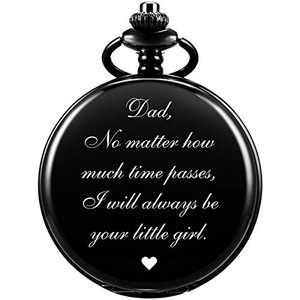 SIBOSUN Pocket Watch Men Personalized Chain Quartz from Daughter Child to DAD Dady Father Engraved Black