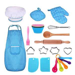 Kids Cooking and Baking Set - 25Pcs Kids Chef Role Play Includes Apron for Little Boys & Girls, Chef Hat, Utensils, Cake Cutter, Silicone Cupcake Moulds for Toddler Dress Up Ages 3-6 Little Kids Gift
