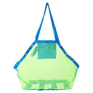TopTops Mesh Beach Tote Bag, Kids Sea Shell Bags,Large Beach Toy Bag Away from Sand,Bag Toys Organizer,Sand Toys Collector-Beach Pool Gear(Green)