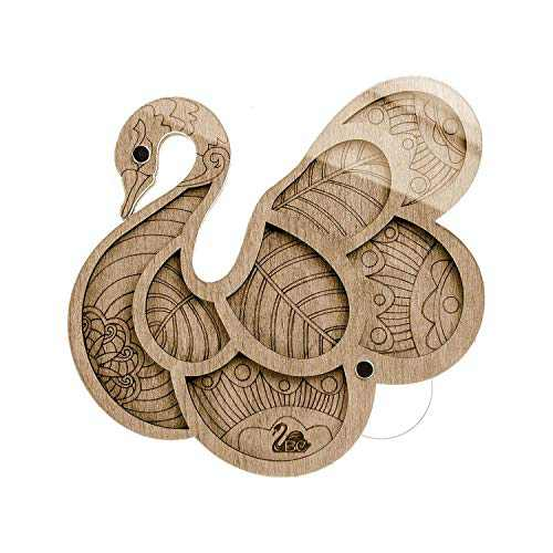 Lonjew Wood Swan Bead Storage Tray, Bead Case with Lid, Seed Beads Organizer Container Transparent Clear Lid, Bead Tray Magnet Cover, Magnetic Needle Holder