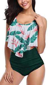 Fancyskin 2 Piece Swimsuits for Women Tummy Control Swimsuit Plus Size Ruffle Swimsuit Green 2XL