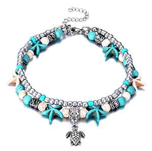 Fesciory Women Starfish Turtle Anklet Multilayer Adjustable Beach Alloy Ankle Foot Chain Bracelet Boho Beads Jewelry(Turtle)