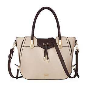 Tibes Women Top Handle Handbags Ladies Satchel Shoulder Bags PU Leather Tote Bags beige