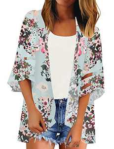 LookbookStore Women Summer Kimono Cardigan for Women Boho Blue Floral Print Kimono Open Front Mesh Panel 3/4 Bell Sleeve Beach Kimono Cover Up Size Medium