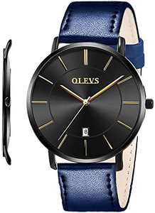 OLEVS Mens Watches Leather Band Minimalist Watches for Men Ultra Thin Slim Dress Black Big Face Simple Casual Analog Quartz Wrist Watch Waterproof Classic Gifts with Strap Royal Blue