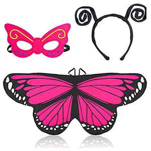 Beelittle Butterfly Wings Costume 3 Pieces Fancy Dress-Up Set Butterfly Wings Cape Shawl with Antenna Headband and Mask for Girls Kids (Rose Red)
