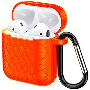 Airpods Case, Accessories Shockproof Case Cover Portable & Protective Silicone Skin Cover Case for Apple Airpods Charging Case (Orange)