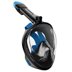 G2RISE SN01 Full Face Snorkel Mask with Detachable Snorkeling Mount, Anti-Fog and Foldable Design for Adults Kids (Black Blue, S/M)