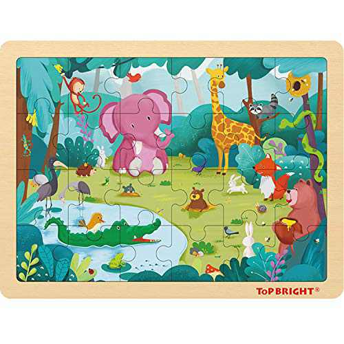 TOP BRIGHT 24 Piece Toddler Puzzles 3 Year Old - Wooden Jigsaw Puzzles for Kids Ages 4-8 - Forest Animals