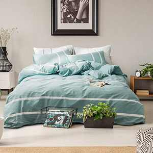 Travan Duvet Cover Ultra Soft 100% Washed Cotton Comforter Cover 3-Piece Striped Bedding Set Natural Wrinkled Look with Zipper Closure & Corner Ties (Aqua Strip, Queen)