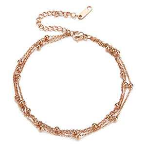 Fesciory Women Stainless Steel Anklet Rose Gold Adjustable Beach Ankle Foot Chain Bracelet Jewelry Gift(Beads)