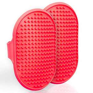 Lillian Ruff Dog Bath Brush - 2 Pack of Flexible Rubber Dog Shower Brush with Adjustable Strap - Soothing Massage Bristles Produce More Lather, Reduce Bath Time, Remove More Dirt & Loose Hair (Red)