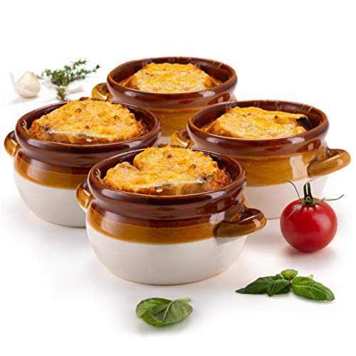 French Onion Soup Crocks, by KooK, Ceramic Make, Large Handles, Stoneware, 18oz Full Capacity