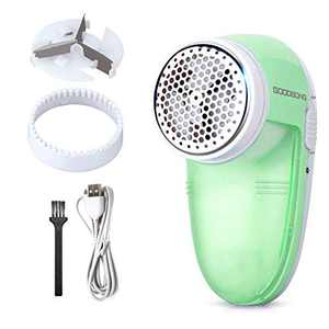 GOODBONG Fabric Shaver Defuzzer, Electric Lint Remover, Rechargeable Sweater Shaver with Replaceable Stainless Steel 3-Blades, Dual Protection, Removable Bin, Easy Remove Fuzz, Lint, Pills, Bobbles