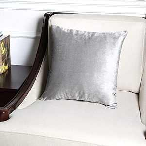 Hahadidi Gray Velvet Pillow Covers Decorative Throw Pillow Covers,Square Cushion Case Luxury Velvet Pillowcase for Couch/Bed/Chair/Car,Gray,20''x20''(50x50cm)
