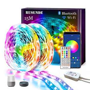 LED Light Strips, 50ft/15M WiFi Led Strip Smart Color Changing Rope Lights SMD 5050 RGB Strip Lights with WiFi Wireless Controller Sync to Music Compatible with Alexa,Google Home,IFTTT
